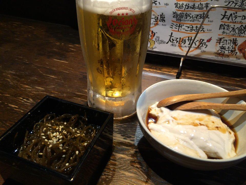 ビールにもずくにじーまみー豆腐でスタート!