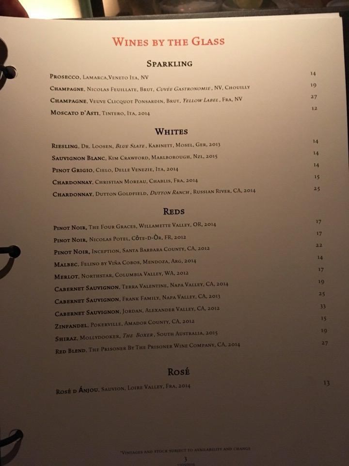 クラフトステーキ グラスワインメニュー