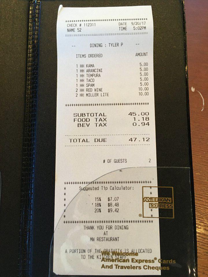 お会計は税込みで47.12ドル