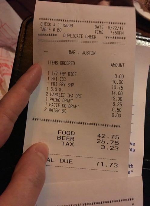 お会計は税込みで71.73ドル
