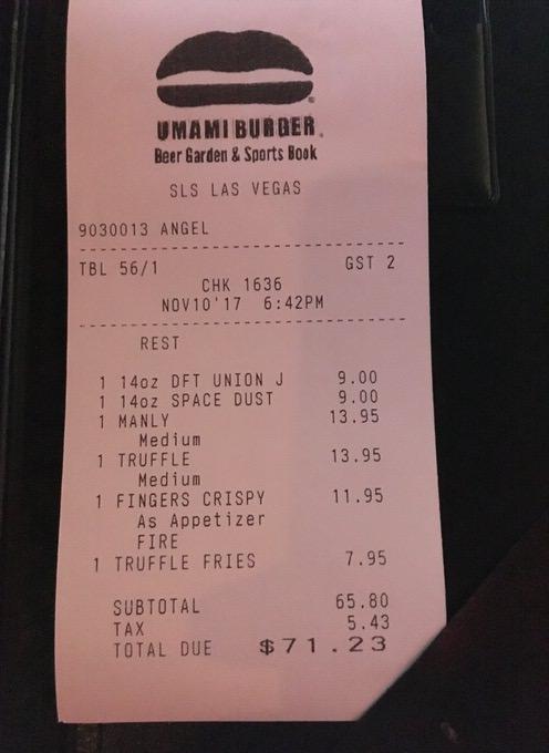 お会計は税込みで71.23ドル