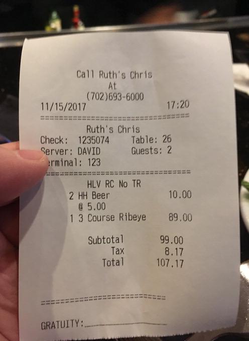お会計は税込みで107.17ドル