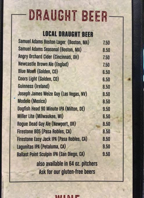 Guy Fieris Vegas Kitchen & Barの生ビールのメニュー