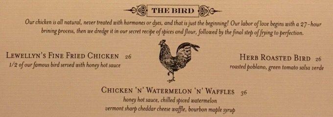 ヤードバードのフードメニュー チキン