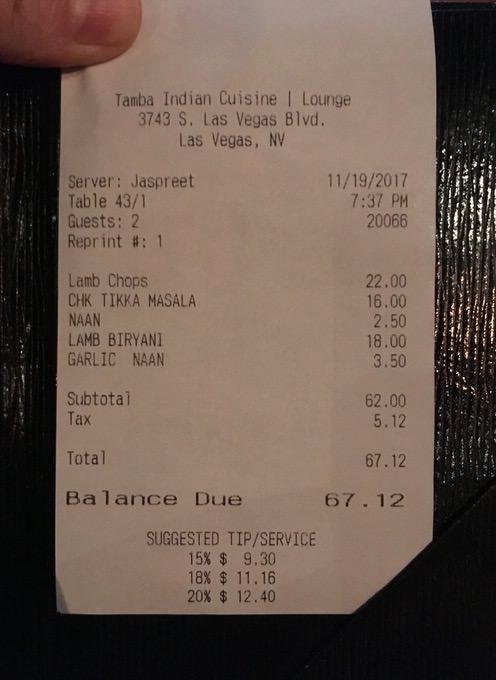 お会計は税込みで67.12ドル