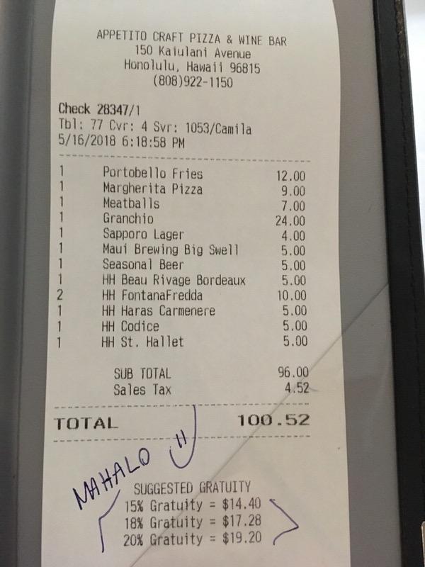 お会計は税込みで100.52ドル