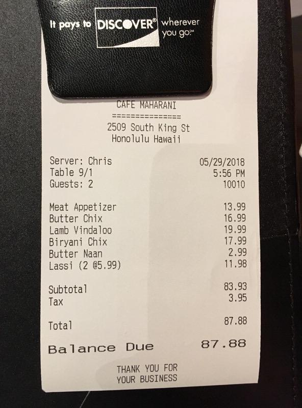 お会計は税込みで87.88ドル