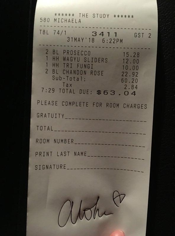 お会計は税込みで63.04ドル
