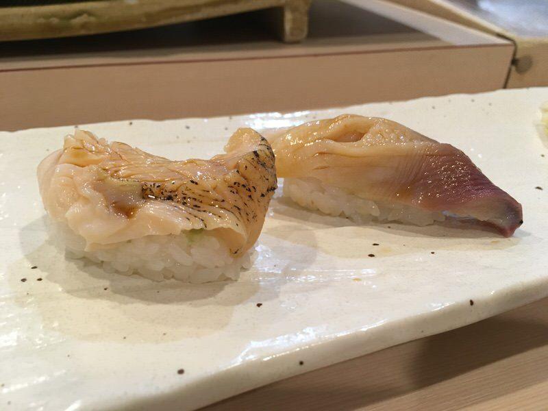 つぶ貝と北寄貝の寿司