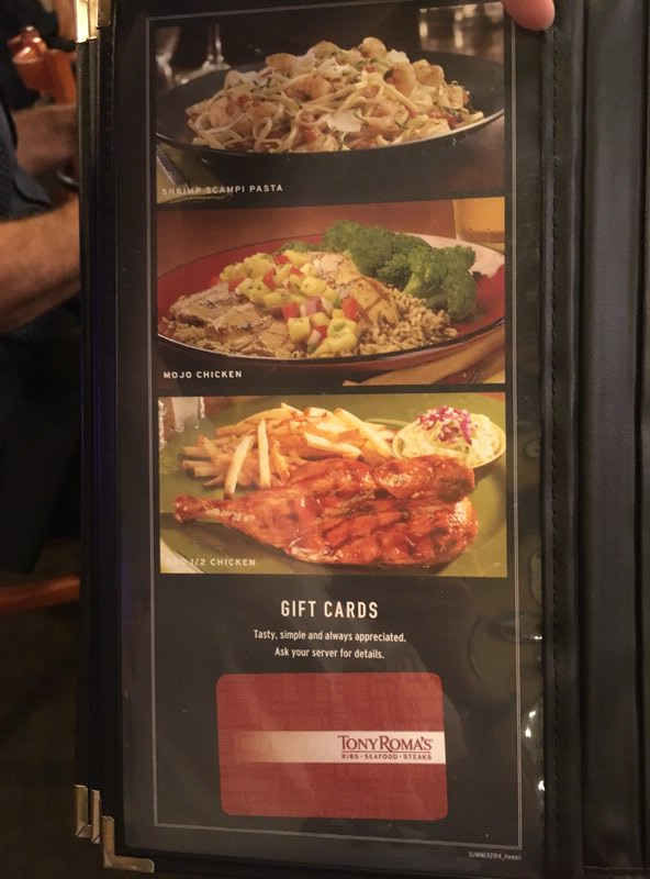 トニーローマ ワイキキのメニュー チキン、バーガー、パスタの写真