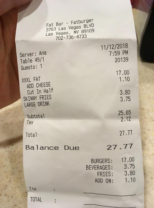 お会計は税込みで27.77ドル