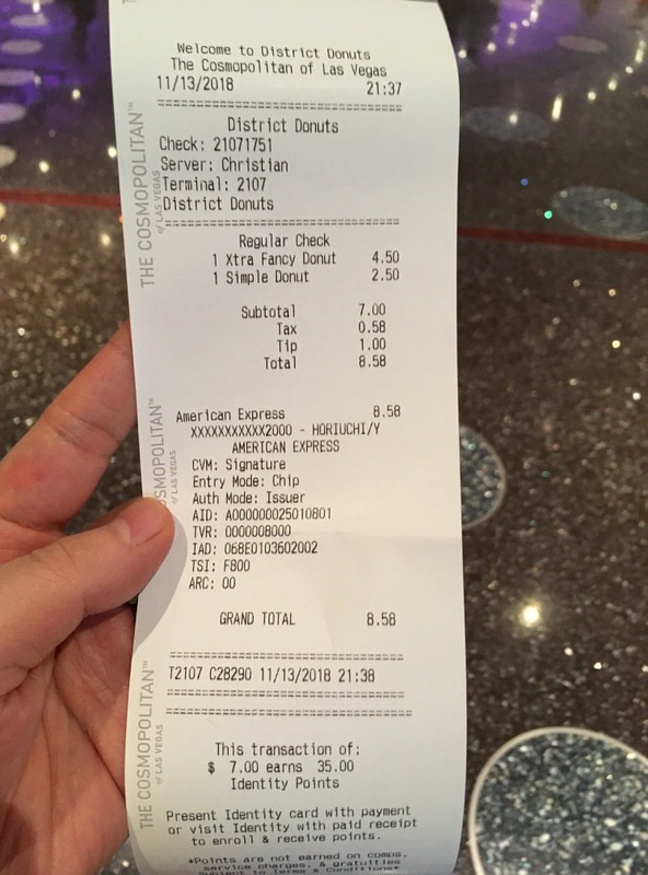 DISTRICT: DONUTS. SLIDERS. BREW.のお会計は税・チップ込みで8.58ドル