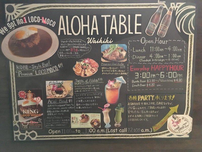 アロハテーブル・ワイキキ入り口のボード