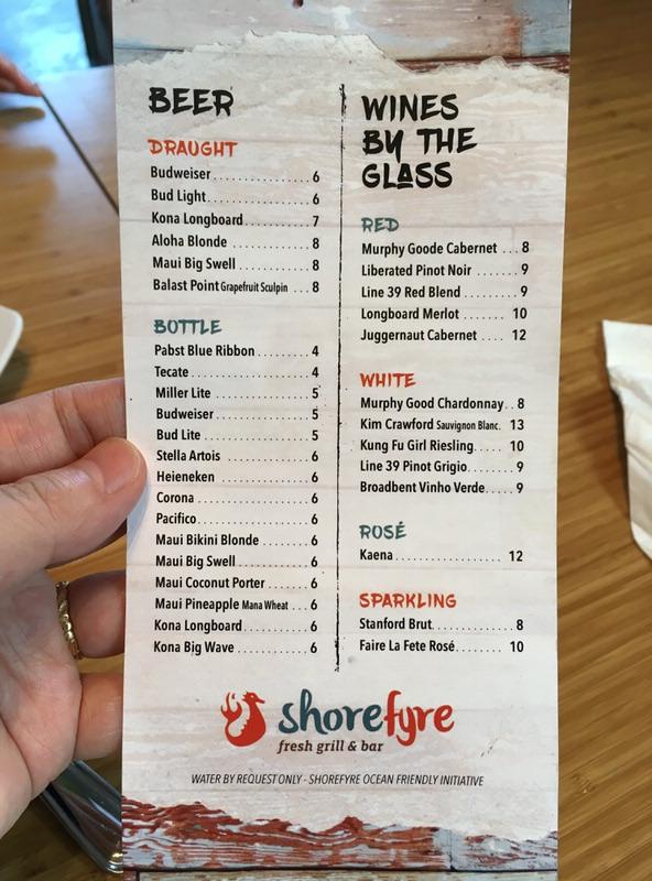ショアファイヤー(shorefyre)のメニュー ビールとワイン