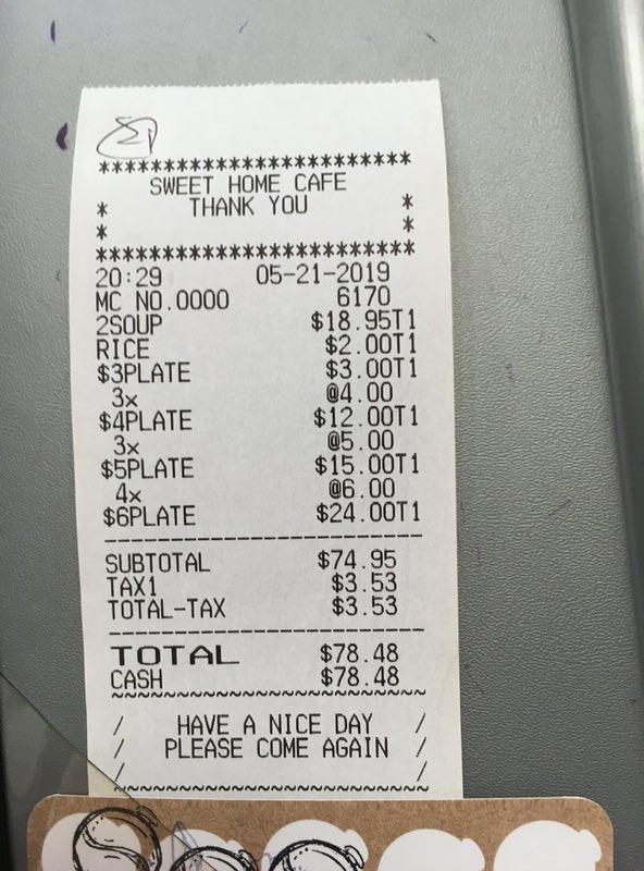 お会計は税込みで78.48ドル
